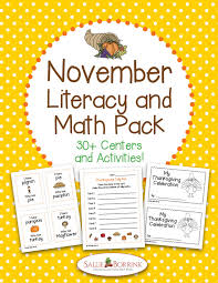 november literacy and math pack 30 centers and activities