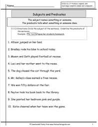 subject and predicate practice subject and predicate free