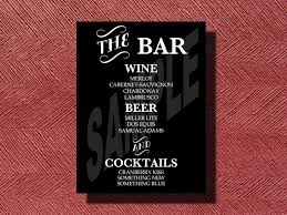wedding bar menu template wedding reception bar menu sign printable bar menu sign for