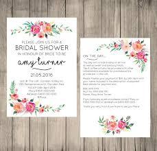 Wedding Invitations Information Bridal Shower Digital Invitation Customised Floral Design 5x7