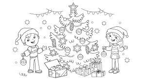 dibujos navideñas para colorear navideños para pintar o colorear niños decorando el árbol