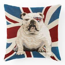 Blue Union Jack Cushion British Bulldog Cushion Amazon Co Uk Kitchen U0026 Home