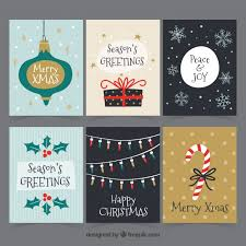 original pack of hand drawn christmas cards vector free download
