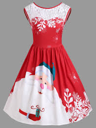santa dress christmas lace insert santa claus print party dress m in