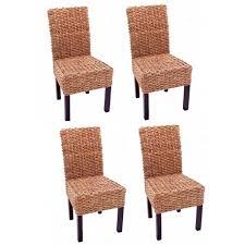 chaises tress es lot de 4 chaises en jacinthe d eau tressée pieds en bois cds04106