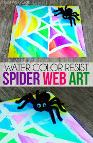 water color resist spider web kids art spider webs spider and water