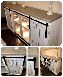 diy sideboard buffet table farmhouse barn style hanging doors