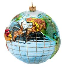 blown glass ornament santa claus around the world