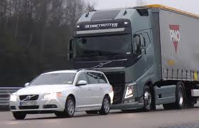 volvo 2013 truck video find volvo u0027s new semi truck stops itself just shy of a