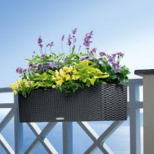 Self Watering Wall Planters Rectangle Lechuza Balconera Cottage Self Watering Resin Planter