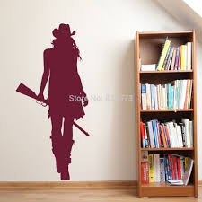 online get cheap removeable wall stickers western aliexpress com cowgirl cowboy west silhouette wall art stickers wall decal home diy decoration wall mural removable bedroom
