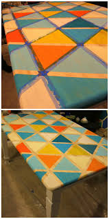 Red Kitchen Table by Nine Red How To Diy Triangle Pattern Kitchen Tabletop