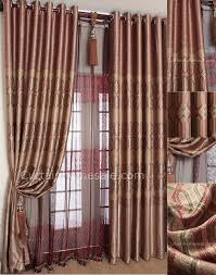 geometric polyester punching eyelet coffee oriental curtains