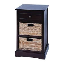 Modern Side Table Side Table With Wicker Basket Drawers In Espresso