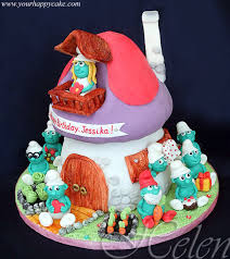 cute smurfs cake between the pages