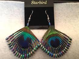 80s feather earrings peacock feather beaded earrings borealis 80 s vintage ebay