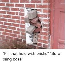 Brick Wall Meme - y kr fill that hole with bricks sure thing boss funny meme on me me