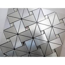 Glass Mosaic Diamond Brushed Aluminum Alucobond Tile Kitchen - Aluminum backsplash