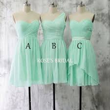 mismatch short mint green bridesmaid dresses chiffon bridesmaid
