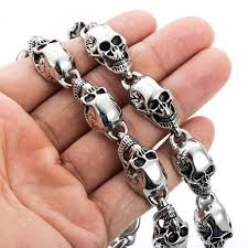 skull link necklace images Customized 13mm heavy gothic skulls link boys mens chain biker etsy jpg