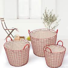 joveco oval urban style laundry baskets with red wired detail on