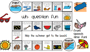 summer wh question game board