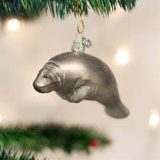 manatee glass ornament manatee ornament and glass