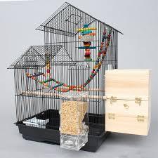 gabbie per grande breve doppia casa gabbie per uccelli di ferro nero