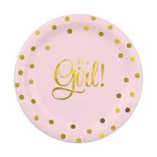 baby shower paper girl baby shower plates zazzle