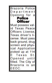 police department brazoria tx