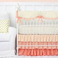 coral and gold dot ruffle baby bedding caden lane