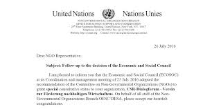 si e des nations unies csr dialogue forum raised to the consultative status of the un csr