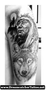 amazing wolf and dreamcatcher tattoos search - Wolf Indian Tattoos