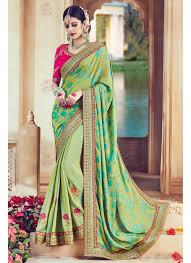 color designer wear green color designer embroidered satin saree 904 that