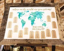 travel themed wedding world map travel themed wedding seating plan made and personalised