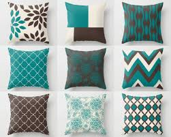 Home Decor Teal Throw Pillow Covers Home Decor Chocolate Brown Teal Beige Pillow