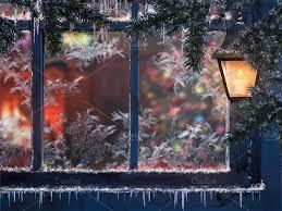 beautiful christmas window snow lights a lantern icicles