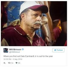 Dale Earnhardt Meme - dale earnhardt jr out for the year frustrated florida state dad