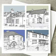 personalised architectural style house illustration by lucy
