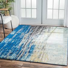Area Rug Modern Nuloom Modern Abstract Vintage Blue Area Rug Square Blue Grey