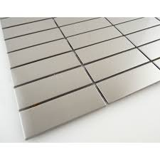 1 x 3 stainless steel metal uniform brick tile brushed 4a6911 stacked stainless steel 1 x 3 metal brushed tile