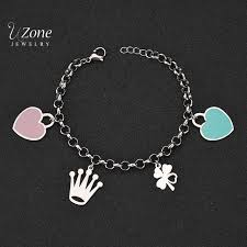 stainless steel bracelet charms images Famous brand blue pink heart hand charm bracelet 316l stainless jpg