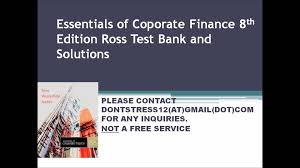 essentials of coporate finance 8th edition ross test bank and