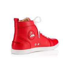 christian louboutin bip bip flat mens leather sneakers in red