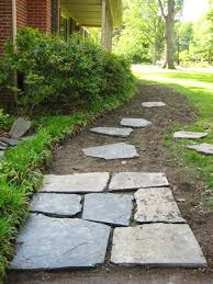 Laying Patio Slabs On Grass How To Lay A Slate Walkway For Instant Cottage Curb Appeal
