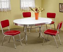 retro dining table and chairs retro 1950 s oval dining table and red chair 5 piece set by coaster