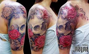 half sleeve skull and roses tattoos for women in 2017 real photo