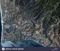 California Fault Map Aerial Map View Above Malibu California Stock Photo Royalty Free
