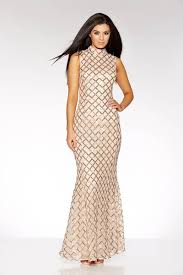 gold maxi dress chagne and gold sequin high neck fishtail maxi dress quiz