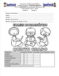 examen de 5 grado con respuestas examen de diagnóstico del quinto grado para el ciclo escolar 2017